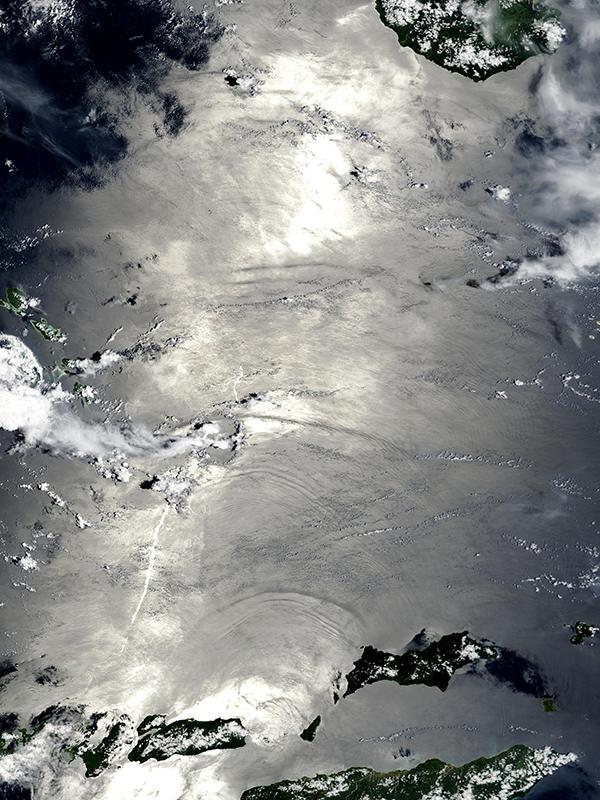An image from NASA's Visible Earth satellite, showing internal waves in the Banda Sea