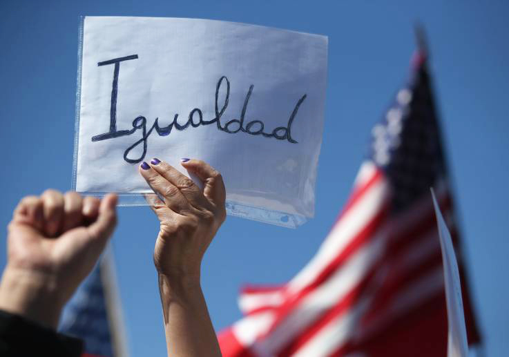 """Igualdad"" sign at an immigration reform rally"