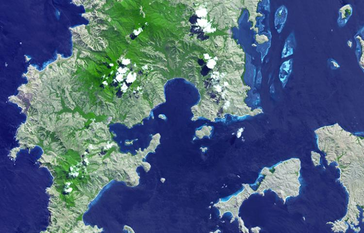 A NASA Visible Earth satellite image of Komodo National Park, Indonesia