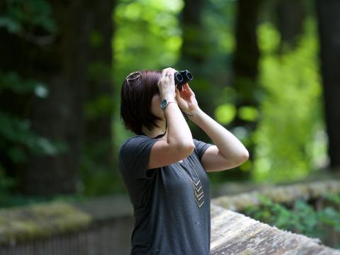 Woman looks up through binoculars